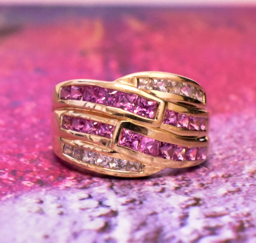 Yellow Gold Pink & White Sapphire Ring