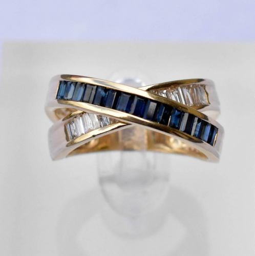 Yellow Gold Sapphire & Diamond Ring