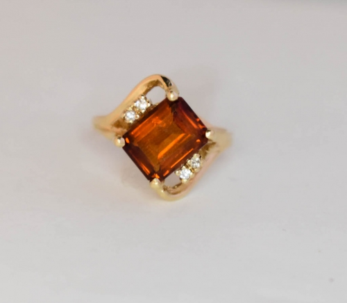 Yellow Gold Citrine Diamond Ring