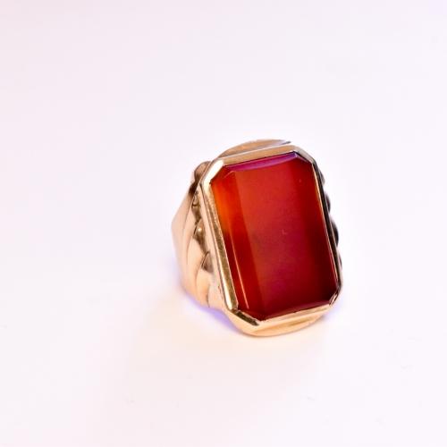 Yellow Gold Orange Corundum Ring