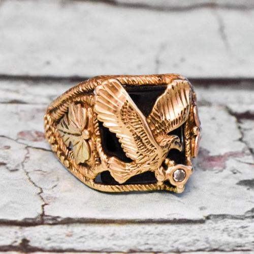 10K Black Hills Gold Mens Eagle & Black Onyx Ring