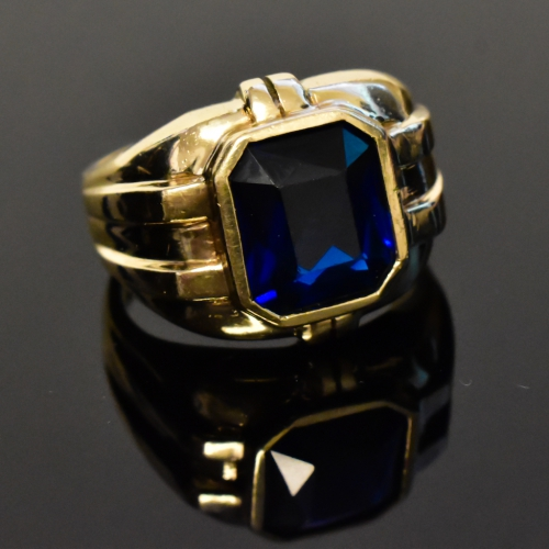 14K Yellow Gold Mens Sapphire Ring