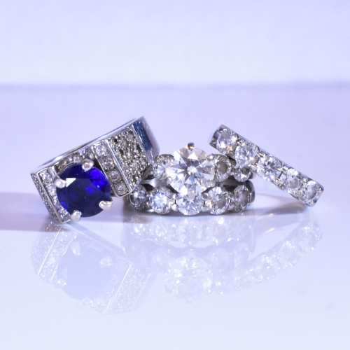 White Gold Diamond & Sapphire Rings