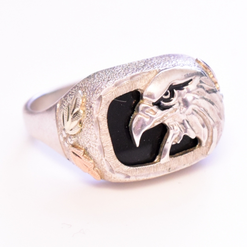 Sterling Silver Mens Eagle Black Onyx Ring
