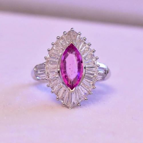 White Gold Pink Stone & Diamond Ring