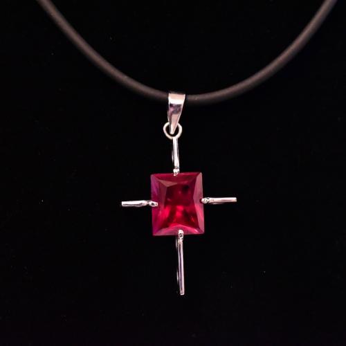 18K White Gold Ruby Cross Pendant