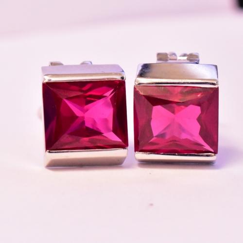 18K White Gold Ruby Earrings