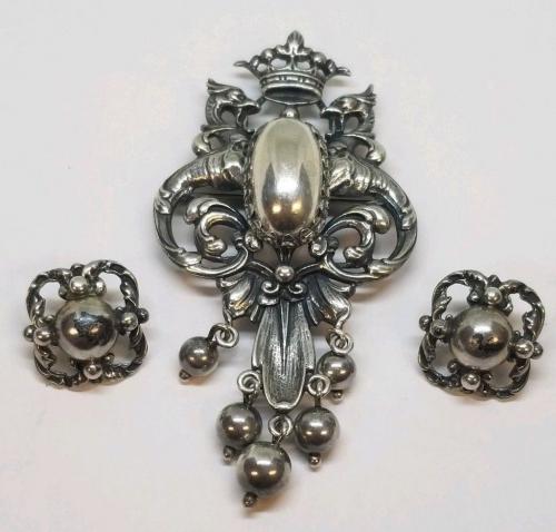 Vintage Sterling Silver Brooch & Earring Set