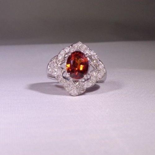White Gold Diamond & Gem Ring