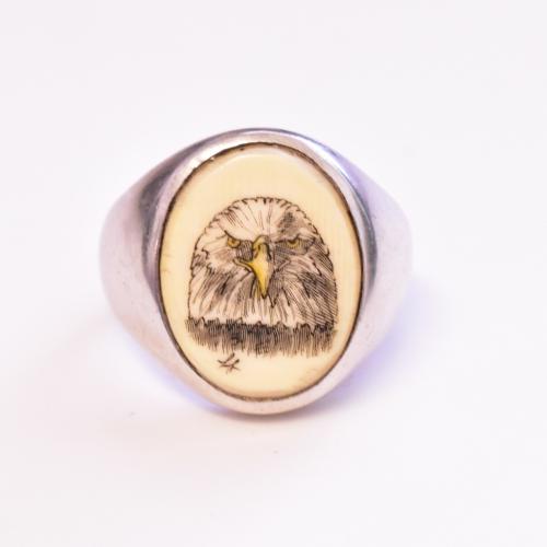 Sterling Silver Bone Eagle Mens Ring