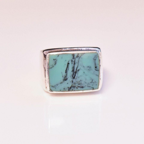 Sterling Silver Turquoise Mens Ring